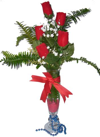 Kayseri çiçek çiçek satışı  5 adet kirmizi gül ve cam tanzim