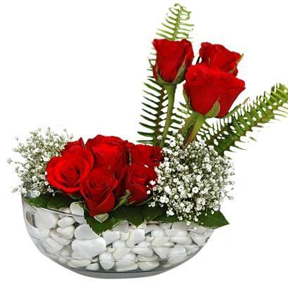 cam içerisinde 9 adet kirmizi gül  Kayseri çiçek uluslararası çiçek gönderme