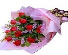 11 adet kirmizi güllerden görsel buket  Kayseri çiçek çiçek satışı