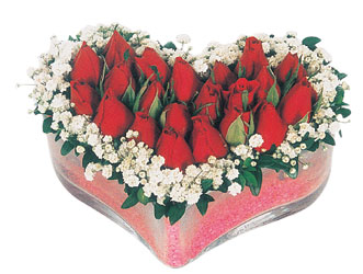 Kayseri çiçek hediye çiçek yolla  mika kalpte kirmizi güller 9