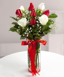 5 kırmızı 4 beyaz gül vazoda  Kayseri çiçek hediye sevgilime hediye çiçek