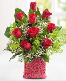 Cam içerisinde 9 adet kırmızı gül  Kayseri çiçek online çiçek gönderme sipariş