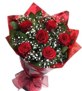 6 adet kırmızı gülden buket  Kayseri hacılar çiçek çiçek gönderme sitemiz güvenlidir
