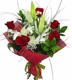 1 dal kazablanka 5 kırmızı gül buketi  Kayseri çiçek çiçek yolla , çiçek gönder , çiçekçi