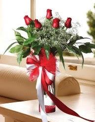 Camda 5 kırmızı gül tanzimi  Kayseri çiçek hediye çiçek yolla