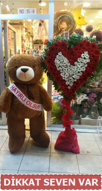 1.5 Metre peluş ayı ve Kalp  Kayseri çiçek çiçek satışı