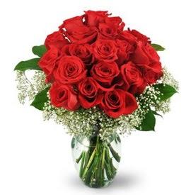 25 adet kırmızı gül cam vazoda  Kayseri çiçek çiçek siparişi sitesi