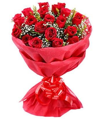 21 adet kırmızı gülden modern buket  Kayseri çiçek ucuz çiçek gönder