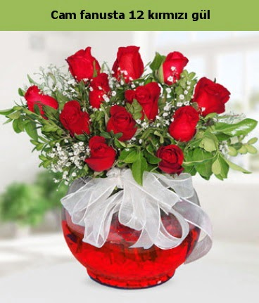 Cam içerisinde 12 adet kırmızı gül  Kayseri çiçek online çiçek gönderme sipariş