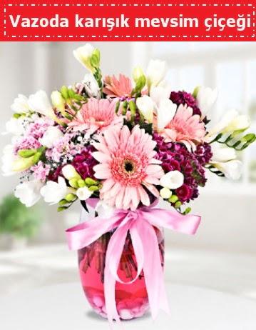 Vazoda karışık mevsim çiçeği  Kayseri çiçek çiçek siparişi sitesi