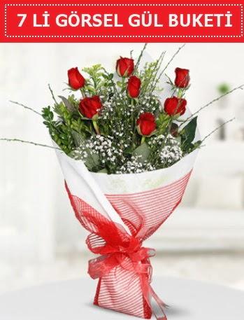 7 adet kırmızı gül buketi Aşk budur  Kayseri çiçek çiçekçi mağazası