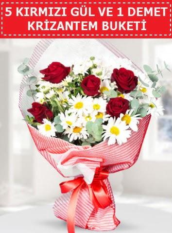 5 adet kırmızı gül ve krizantem buketi  Kayseri çiçek çiçekçi mağazası