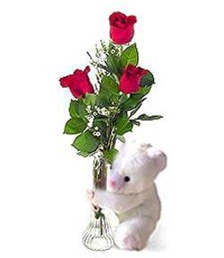 oyuncak ve 3 adet gül  Kayseri çiçek çiçek siparişi vermek