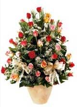 91 adet renkli gül aranjman   Kayseri çiçek çiçek satışı