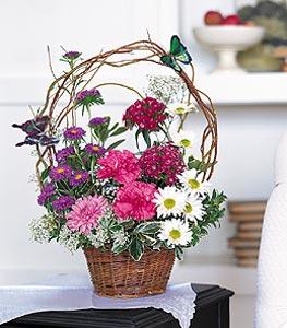 Kayseri çiçek hediye sevgilime hediye çiçek  sepet içerisinde karanfil gerbera ve kir çiçekleri