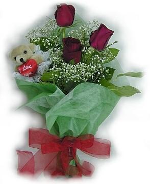 3 adet gül ve küçük ayicik buketi  Kayseri çiçek anneler günü çiçek yolla
