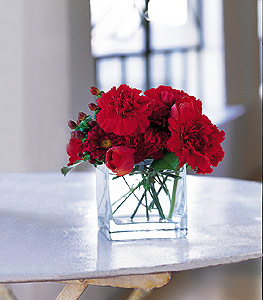 Kayseri çiçek internetten çiçek satışı  kirmizinin sihri cam içinde görsel sade çiçekler