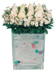 Kayseri çiçek internetten çiçek siparişi  7 adet beyaz gül cam yada mika vazo tanzim
