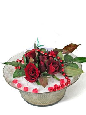 Kayseri çiçek uluslararası çiçek gönderme  EN ÇOK Sevenlere 7 adet kirmizi gül mika yada cam tanzim