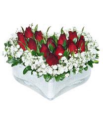 Kayseri çiçek cicekciler , cicek siparisi  mika kalp içerisinde 9 adet kirmizi gül