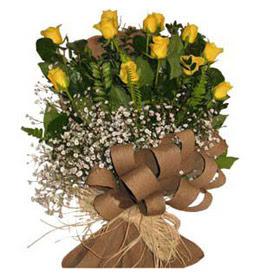 Kayseri özvatan çiçek çiçek , çiçekçi , çiçekçilik  9 adet sari gül buketi