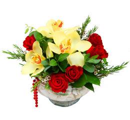Kayseri çiçek ucuz çiçek gönder  1 adet orkide 5 adet gül cam yada mikada
