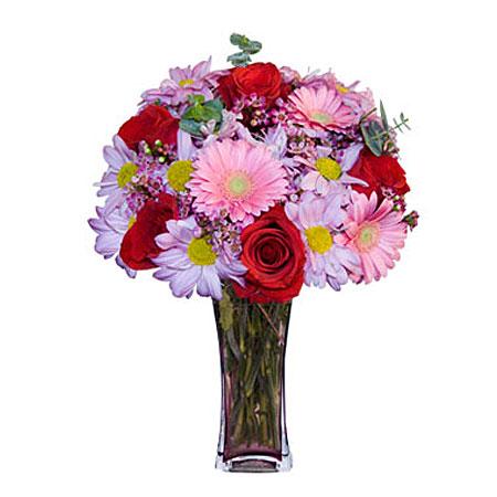 Görsel hediye karisik cam mevsim demeti  Kayseri çiçek internetten çiçek siparişi