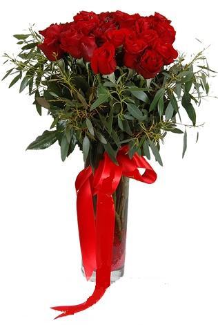 15 adet kirmizi gül cam vazo içerisinde  Kayseri çiçek online çiçek gönderme sipariş