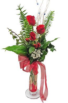 Çiçek gönderin cam vazoda 3 gül çiçekleri  Kayseri çiçek çiçek siparişi vermek