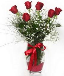 7 adet gülden cam içerisinde güller  Kayseri çiçek çiçek servisi , çiçekçi adresleri