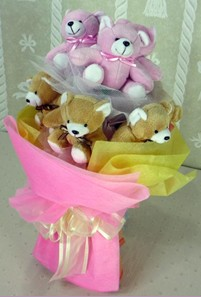 8 adet ayiciktan buket  Kayseri çiçek anneler günü çiçek yolla