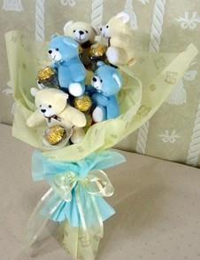 6 adet ayiciktan buket tanzimi  Kayseri çiçek hediye sevgilime hediye çiçek