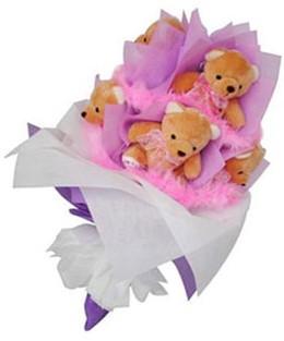 9 adet ayiciktan buket  Kayseri çiçek kaliteli taze ve ucuz çiçekler