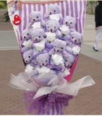 11 adet pelus ayicik buketi  Kayseri çiçek çiçek satışı