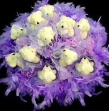 11 adet pelus ayicik buketi  Kayseri çiçek çiçek siparişi sitesi