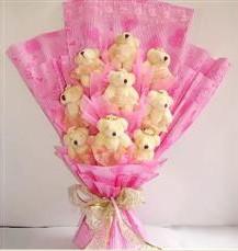 9 adet pelus ayicik buketi  Kayseri çiçek çiçek mağazası , çiçekçi adresleri