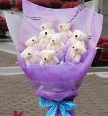 11 adet pelus ayicik buketi  Kayseri çiçek internetten çiçek satışı