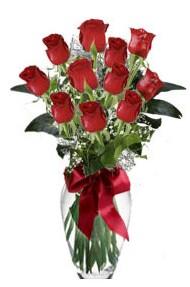 11 adet kirmizi gül vazo mika vazo içinde  Kayseri çiçek çiçek servisi , çiçekçi adresleri