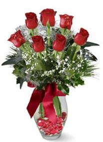 Kayseri çiçek cicekciler , cicek siparisi  7 adet kirmizi gül cam vazo yada mika vazoda