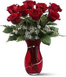 Vazo içinde 8 adet kirmizilar içinde güller  Kayseri çiçek cicekciler , cicek siparisi