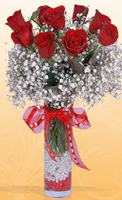 9 adet kirmizi gül cam yada mika vazoda  Kayseri çiçek online çiçekçi , çiçek siparişi