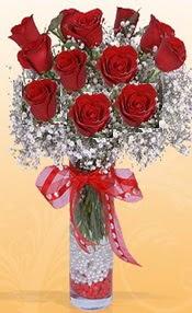 10 adet kirmizi gülden vazo tanzimi  Kayseri çiçek çiçek siparişi vermek