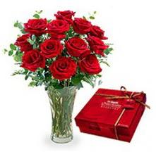 Kayseri çiçek internetten çiçek siparişi  10 adet cam yada mika vazoda gül çikolata