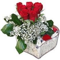 Kayseri kocasinan çiçek İnternetten çiçek siparişi  kalp mika içerisinde 7 adet kirmizi gül