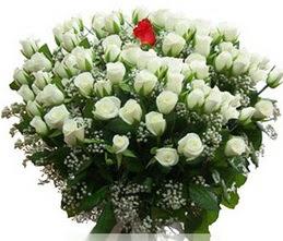Kayseri çiçek online çiçek gönderme sipariş  100 adet beyaz 1 adet kirmizi gül buketi