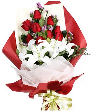 Kayseri çiçek cicek , cicekci  1 dal kazablankaa 9 adet kırmızı gül buketi