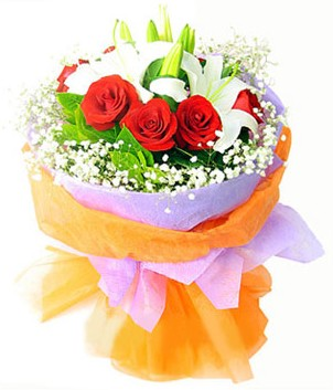Kayseri çiçek çiçek satışı  1 dal kazablanka 7 adet kırmızı gül buketi