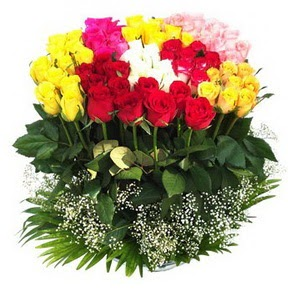 Kayseri çiçek online çiçekçi , çiçek siparişi  51 adet renkli güllerden aranjman tanzimi