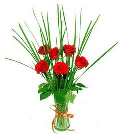 Kayseri çiçek çiçek siparişi sitesi  6 adet kırmızı güllerden vazo çiçeği