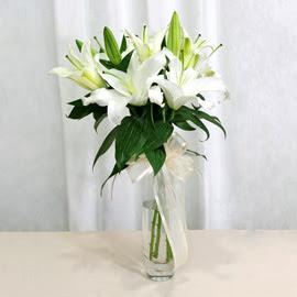Kayseri çiçek çiçek mağazası , çiçekçi adresleri  2 dal kazablanka ile yapılmış vazo çiçeği